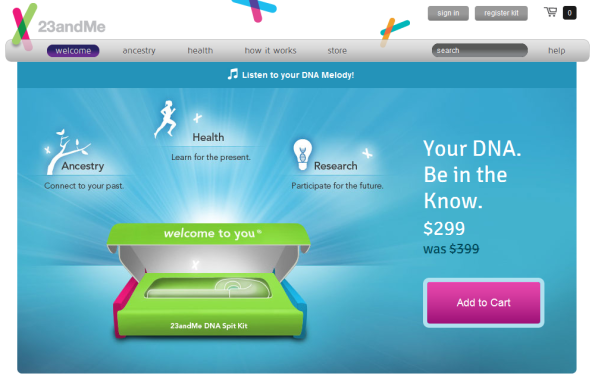 Screenshot 23andme.com Website