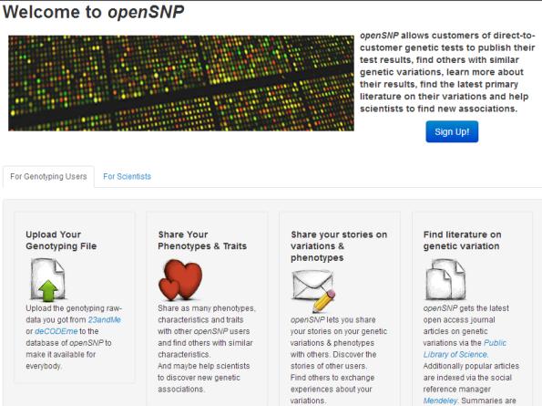 Screenshot Webportal openSNP.org